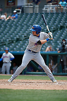 Midland RockHounds Chase Calabuig (19) bats during a Texas League game against the Frisco RoughRiders on May 21, 2019 at Dr Pepper Ballpark in Frisco, Texas.  (Mike Augustin/Four Seam Images)
