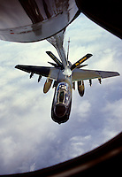 A7-Corsair being refueled by 126 Air refueling Wing during exercise Barfrost 89, over Norwegian waters