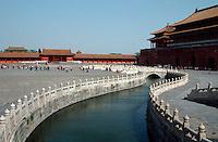 China, Kaiserpalast von Peking, Wu Men (Mittagstor) und Goldwasserfluss; Unesco-Weltkulturerbe
