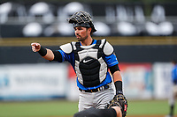 Biloxi Shuckers catcher Payton Henry (15) in action against the Tennessee Smokies on May 18, 2021, at Smokies Stadium in Kodak, Tennessee. (Danny Parker/Four Seam Images)