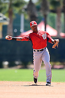 Washington Nationals second baseman Wilmer Difo (3) during practice before a minor league spring training game against the Atlanta Braves on March 26, 2014 at Wide World of Sports in Orlando, Florida.  (Mike Janes/Four Seam Images)