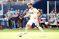 KANSAS CITY, KS - JUNE 26: Tristan Blackman #27 Los Angeles FC with the ball during a game between Los Angeles FC and Sporting Kansas City at Children's Mercy Park on June 26, 2021 in Kansas City, Kansas.