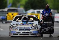 Jun. 19, 2011; Bristol, TN, USA: NHRA pro stock driver Allen Johnson during eliminations at the Thunder Valley Nationals at Bristol Dragway. Mandatory Credit: Mark J. Rebilas-