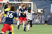 FOXBOROUGH, MA - OCTOBER 19: Scott Caldwell #6 of New England Revolution battles Teal Bunbury #10 of New England Revolution for the ball during a game between Philadelphia Union and New England Revolution at Gillette on October 19, 2020 in Foxborough, Massachusetts.