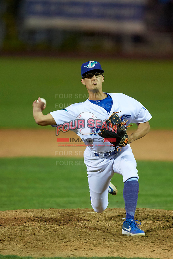 Mark Mixon (15) of the Ogden Raptors delivers a pitch to the plate against the Grand Junction Rockies at Lindquist Field on September 9, 2019 in Ogden, Utah. The Raptors defeated the Rockies 6-5. (Stephen Smith/Four Seam Images)