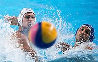 DERVISIS Georgios GRE and AICARDI Matteo ITA<br /> GREECE vs ITALY<br /> GRE vs ITA<br /> Waterpolo - Men's 3rd-4th place <br /> Day 16 08/08/2015<br /> XVI FINA World Championships Aquatics Swimming<br /> Kazan Tatarstan RUS July 24 - Aug 9 2015 <br /> Photo Giorgio Perottino/Deepbluemedia/Insidefoto