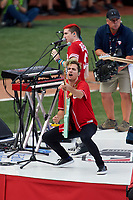 Cincinnati, Ohio based Walk the Moon - Nicholas Petricca (background) and Kevin Ray (foreground) - perform before the MLB Home Run Derby on July 13, 2015 at Great American Ball Park in Cincinnati, Ohio.  (Mike Janes/Four Seam Images)