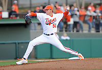 Pitcher Joseph Moorefield (51) of the Clemson Tigers in a game against the William & Mary Tribe on Opening Day, Friday, February 15, 2013, at Doug Kingsmore Stadium in Clemson, South Carolina. Clemson won, 2-0. (Tom Priddy/Four Seam Images)