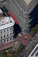aerial photograph Flood Building and Powell and Market cable car turnaround San Francisco, California