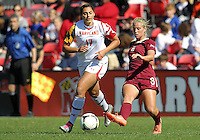 COLLEGE PARK, MD - OCTOBER 21, 2012:  Gabby Galanti (17) of the University of Maryland Michaela Hahn (8) of Florida State during an ACC women's match at Ludwig Field in College Park, MD. on October 21. Florida won 1-0.