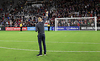 ORLANDO, FL - NOVEMBER 15: USMNT coach Gregg Berhalter salutes the fans during a game between Canada and USMNT at Exploria Stadium on November 15, 2019 in Orlando, Florida.