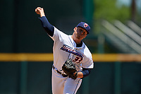 Jacksonville Jumbo Shrimp relief pitcher Tyler Stevens (33) during a Southern League game against the Tennessee Smokies on April 29, 2019 at Baseball Grounds of Jacksonville in Jacksonville, Florida.  Tennessee defeated Jacksonville 4-1.  (Mike Janes/Four Seam Images)