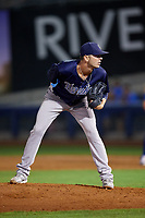 Corpus Christi Hooks relief pitcher Jacob Dorris (7) looks in for the sign during a game against the Tulsa Drillers on June 3, 2017 at ONEOK Field in Tulsa, Oklahoma.  Corpus Christi defeated Tulsa 5-3.  (Mike Janes/Four Seam Images)