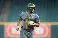 Davion Downey (9) of the Baylor Bears rounds the bases after hitting a home run against the Arkansas Razorbacks in game nine of the 2020 Shriners Hospitals for Children College Classic at Minute Maid Park on March 1, 2020 in Houston, Texas. The Bears defeated the Razorbacks 3-2. (Brian Westerholt/Four Seam Images)