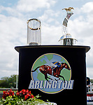 ARLINGTON HEIGHTS, IL - AUGUST 12:  The Arlington Million trophy and The Commissioner's Trophy are displayed on Arlington Million Day at Arlington Park on August 12, 2017 in Arlington Heights, Illinois. (Photo by Jon Durr/Eclipse Sportswire/Getty Images)