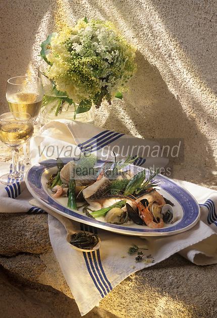 "Europe/France/Bretagne/56/Morbihan/Arzon: Dos de Bar braise recette de Y Toublanc chef de l'Hotel restaurant ""Miramar-Crouesty"""