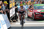 """Richie Porte (AUS) Trek-Segafredo crosses the finish line in 14th place 2'05"""" down atop the Col du Tourmalet at the end of Stage 14 of the 2019 Tour de France running 117.5km from Tarbes to Tourmalet Bareges, France. 20th July 2019.<br /> Picture: Colin Flockton 