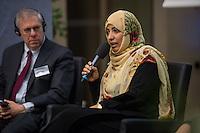 """BMZ-Konferenz """"Religion und die Agenda 2030 fuer nachhaltige Entwicklung"""".<br /> Vlnr: Eric G. Postel, Associate Administrator, U.S. Agency for International Development (USAID), USA; Tawakkol Karman, Friedensnobelpreistraegerin (2011), Jemen.<br /> 17.2.2016, Berlin<br /> Copyright: Christian-Ditsch.de<br /> [Inhaltsveraendernde Manipulation des Fotos nur nach ausdruecklicher Genehmigung des Fotografen. Vereinbarungen ueber Abtretung von Persoenlichkeitsrechten/Model Release der abgebildeten Person/Personen liegen nicht vor. NO MODEL RELEASE! Nur fuer Redaktionelle Zwecke. Don't publish without copyright Christian-Ditsch.de, Veroeffentlichung nur mit Fotografennennung, sowie gegen Honorar, MwSt. und Beleg. Konto: I N G - D i B a, IBAN DE58500105175400192269, BIC INGDDEFFXXX, Kontakt: post@christian-ditsch.de<br /> Bei der Bearbeitung der Dateiinformationen darf die Urheberkennzeichnung in den EXIF- und  IPTC-Daten nicht entfernt werden, diese sind in digitalen Medien nach §95c UrhG rechtlich geschuetzt. Der Urhebervermerk wird gemaess §13 UrhG verlangt.]"""