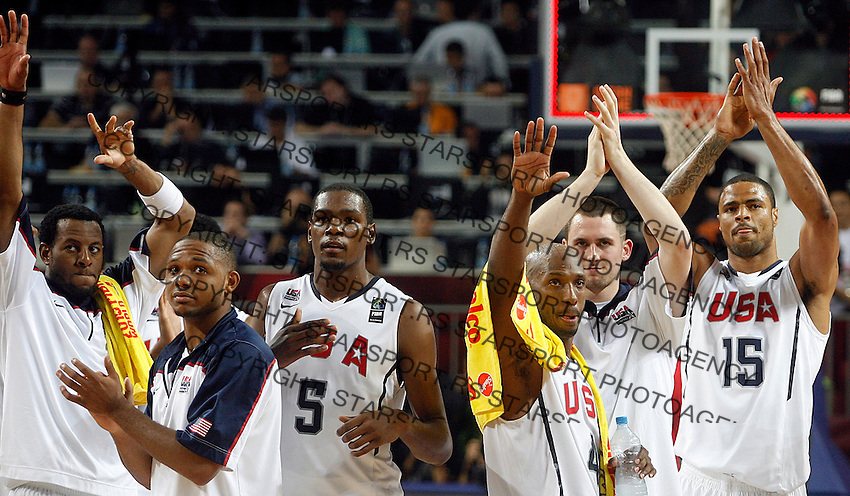 USA players celebrates during the semi-final World championship basketball match against Lithuania in Istanbul, USA-Lithuania, Turkey on Saturday, Sep. 11, 2010. (Novak Djurovic/Starsportphoto.com) .