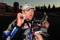 Feb. 27, 2011; Pomona, CA, USA; NHRA funny car driver Robert Hight during the Winternationals at Auto Club Raceway at Pomona. Mandatory Credit: Mark J. Rebilas-.