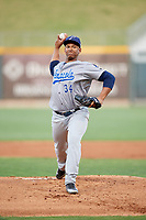 Pensacola Blue Wahoos starting pitcher Keury Mella (34) delivers a pitch during a game against the Birmingham Barons on May 8, 2018 at Regions Field in Birmingham, Alabama.  Birmingham defeated Pensacola 5-2.  (Mike Janes/Four Seam Images)