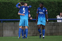 Bilal Sayoud of Wingate & Finchley scores the first goal for his team and celebrates with his team mates during Wingate & Finchley vs Lewes, Pitching In Isthmian League Premier Division Football at the Maurice Rebak Stadium on 3rd October 2020