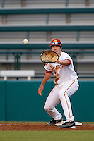 James Roberts #15 of the USC Trojans plays first base during a baseball game against the Oregon Ducks at Dedeaux Field on March 15, 2013 in Los Angeles, California. (Larry Goren/Four Seam Images)