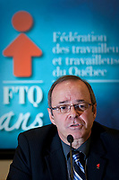 Michel Arsenault speaks in a press conference after he was officially granted the presidency of the FTQ, succeeding to Henry Masse, at the last day of the FTQ congress in Quebec City Friday November 30, 2007.<br /> <br /> PHOTO :  Francis Vachon - Agence Quebec Presse