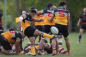 Joseph Heta clears the ball upfield from a defensive ruck. Counties Manukau Premier Club rugby game between Te Kauwhata and Onewhero, played at Te Kauwhata on Saturday April 16th 2016. Onewhero won the game 37 - 0 after leading 13 - 0 at Halftime. Photo by Richard Spranger.