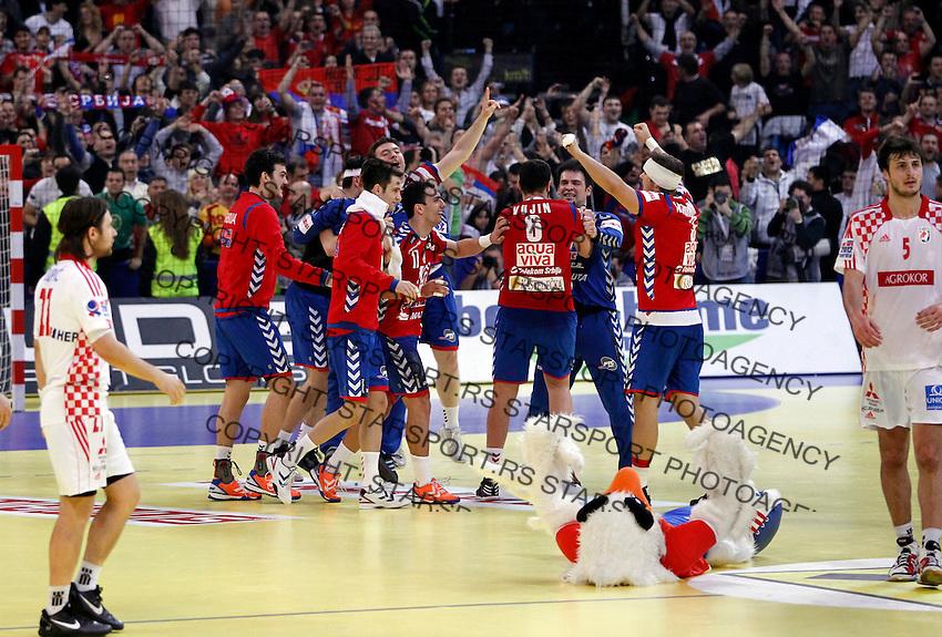 Serbian national handball team players celebrate victory after men`s EHF EURO 2012 championship semifinal handball game against Croatia in Belgrade, Serbia, Friday, January 27, 2011.  (photo: Pedja Milosavljevic / thepedja@gmail.com / +381641260959)