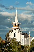 Church steeeple restoration, East Machias, Maine, ME, USA