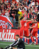 02 May 2009: Toronto FC Players celebrate a gaol at BMO Field in a game between the Columbus Crew and Toronto FC. .The game ended in a 1-1 draw...