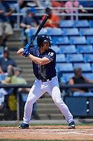 Binghamton Rumble Ponies third baseman Matt Oberste (18) at bat during a game against the Altoona Curve on June 14, 2018 at NYSEG Stadium in Binghamton, New York.  Altoona defeated Binghamton 9-2.  (Mike Janes/Four Seam Images)