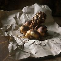 Europe/France/Nord-Pas-de-Calais/59/Nord/Arleux : Ail fumé d'Arleux IGP  - Stylisme : Valérie LHOMME //  France, Nord, Arleux, smoked garlic of Arleux