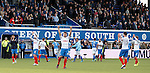 Rangers celebrate victory over Queen of the South in the first leg of the Premiership play-off 1st round