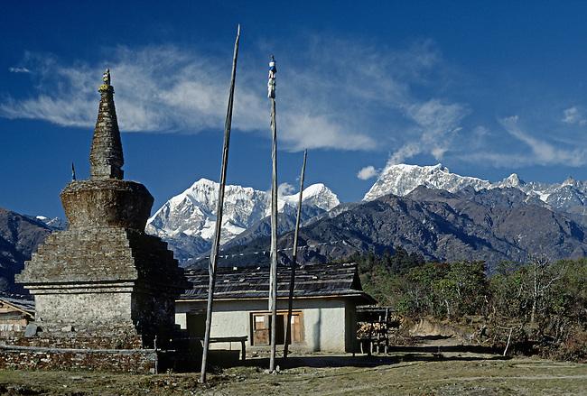 Stupa near Tragsindho Pass with Numbur (22,825 feet), Khatang & Karyolaug peaks behind - NEPAL HIMALAYA