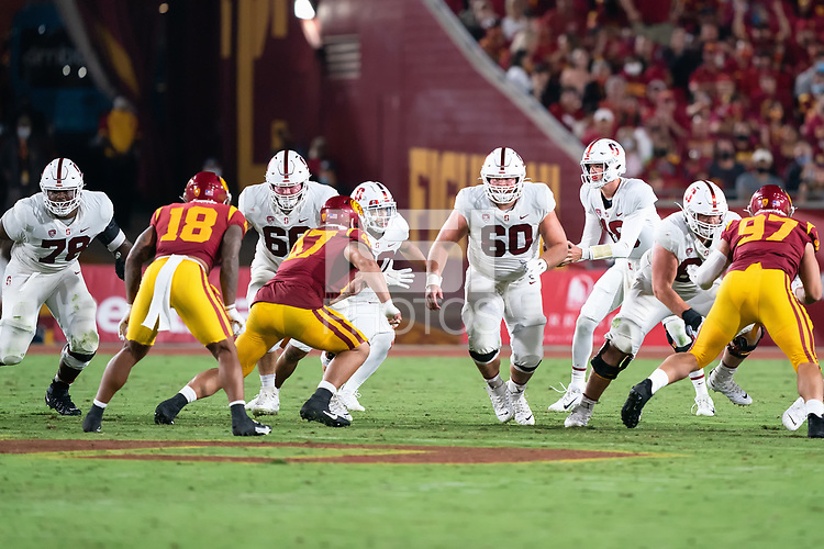 LOS ANGELES, CA - SEPTEMBER 11: Myles Hinton, Branson Bragg, Drake Nugent during a game between University of Southern California and Stanford Football at Los Angeles Memorial Coliseum on September 11, 2021 in Los Angeles, California.