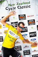 Joe Cooper celebrates winning the tour after stage five of the NZ Cycle Classic UCI Oceania Tour in Masterton, New Zealand on Tuesday, 26 January 2017. Photo: Dave Lintott / lintottphoto.co.nz