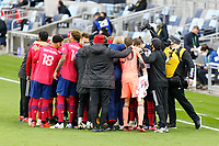 ST PAUL, MN - SEPTEMBER 9: FC Dallas players huddle before a game between FC Dallas and Minnesota United FC at Allianz Field on September 9, 2020 in St Paul, Minnesota.