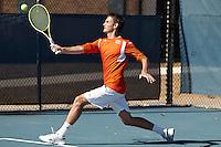 SAN ANTONIO, TX - FEBRUARY 8, 2014: The St. Edward's University Hilltoppers versus the University of Texas at San Antonio Roadrunners Men's Tennis at the UTSA Tennis Center. (Photo by Jeff Huehn)