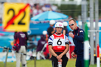 02 AUG 2012 - CHESHUNT, GBR - Lizzie Neave (GBR) left) of Great Britain discusses the course for the Kayak Single K1 semi final with her coach Paul Ratcliffe at the London 2012 Olympic Games event at Lee Valley White Water Centre, Cheshunt, Great Britain .(PHOTO (C) 2012 NIGEL FARROW)