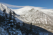 Mount Washington - Tuckerman Ravine in extreme weather conditions from Boott Spur Link Trail in the White Mountains, New Hampshire during the winter months.