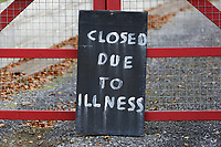 COPY BY TOM BEDFORD<br /> Pictured: A 'Closed Due To Illness' sign outside the Chipoteria fish and chips shop in Hermon, Wales, UK. Wednesday 31 October 2018<br /> Re: A woman who died after suffering severe burns at the Chipoteria chip shop in Carmarthenshire, west Wales has been named as Mavis Bran, 69.<br /> She died at Morriston Hospital in Swansea, six days after the incident in Hermon, near Carmarthen on the 23rd October.<br /> A 70 year old man has been arrested by Dyfed-Powys Police and bailed while investigations are continuing.