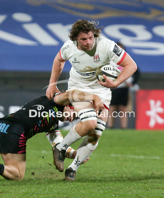 19th March 2021;   Jordi Murphy is tackled by Enrico Lucchin during the final round of the Guinness PRO14 against Zebre Rugby held at Kingspan Stadium, Ravenhill Park, Belfast, Northern Ireland. Photo by John Dickson/Dicksondigital