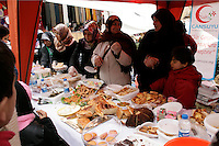 A kermes: Turkish women selling home produce to raise funds for the Palestinians in Pendik, Istanbul, Turkey