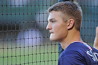 Starting pitcher Mike Soroka (54) of the Rome Braves watched his team at bat from the dugout during a game against the Greenville Drive on Wednesday, August 31, 2016, at Fluor Field at the West End in Greenville, South Carolina. Rome won, 9-1. (Tom Priddy/Four Seam Images)