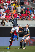 Orlando, Florida - Saturday, June 04, 2016: Paraguayan midfielder Celso Ortiz (16) goes up high to win a header during a Group A Copa America Centenario match between Costa Rica and Paraguay at Camping World Stadium.