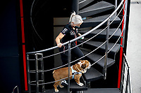 9th September 2021; Nationale di Monza, Monza, Italy; FIA Formula 1 Grand Prix of Italy, Driver arrival and inspection day:  Angela Cullen GBR, Mercedes AMG Petronas F1 Team with Lewis Hamiltons dog Roscoe