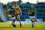 Mike Breen, Kerry, in action against Cillian Brennan, Clare, during the Munster Football Championship game between Kerry and Clare at Fitzgerald Stadium, Killarney on Saturday.