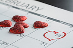 Valentine´s day marked with heart in calendar